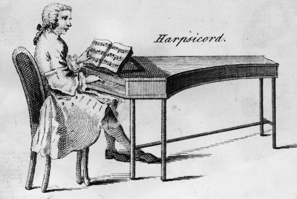 A 1750 drawing shows a man playing a harpsichord.