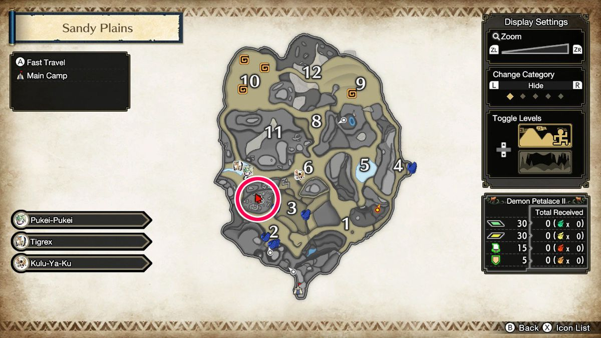 A location of a sub-camp in Monster Hunter Rise