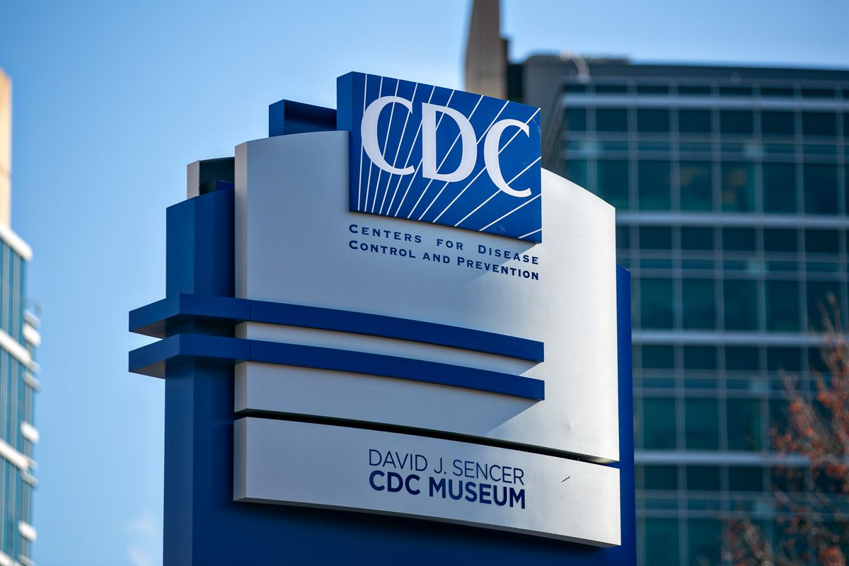 A CDC logo is seen on a building in Atlanta.