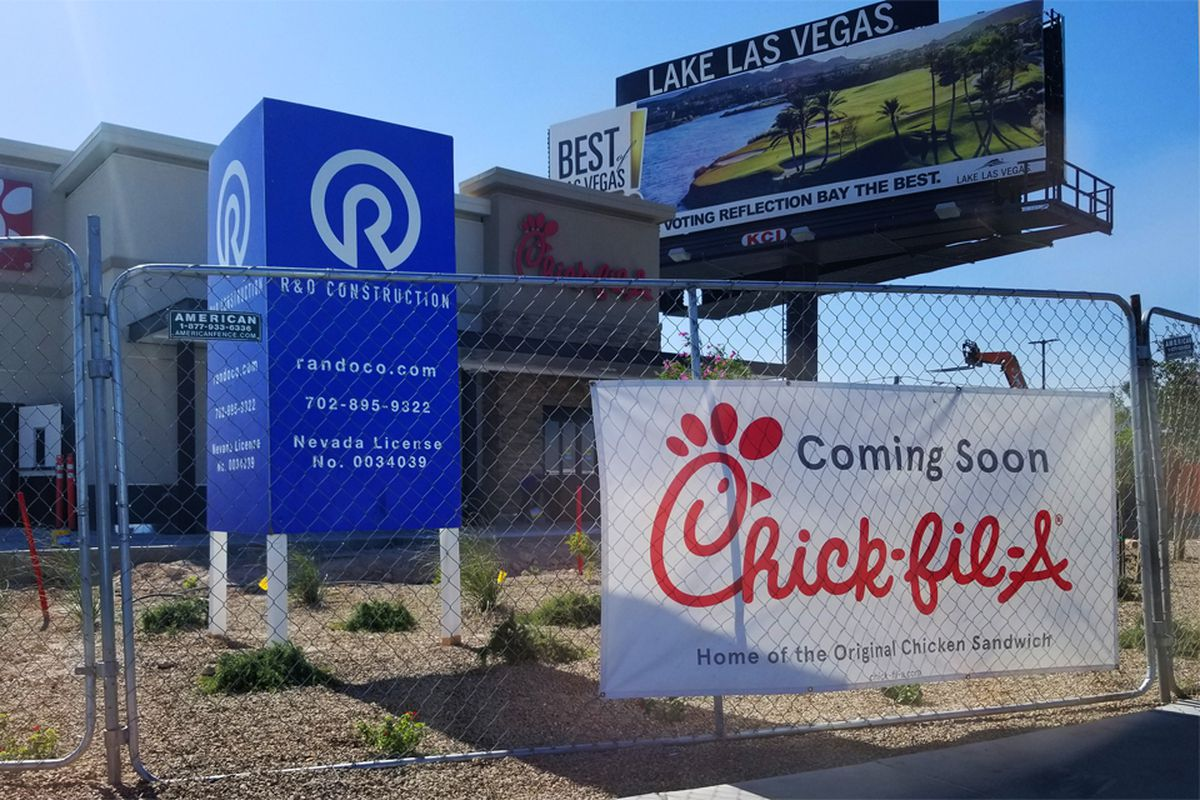The soon to debut exterior of Chick-fil-A, headed to Las Vega Boulevard and I-215.