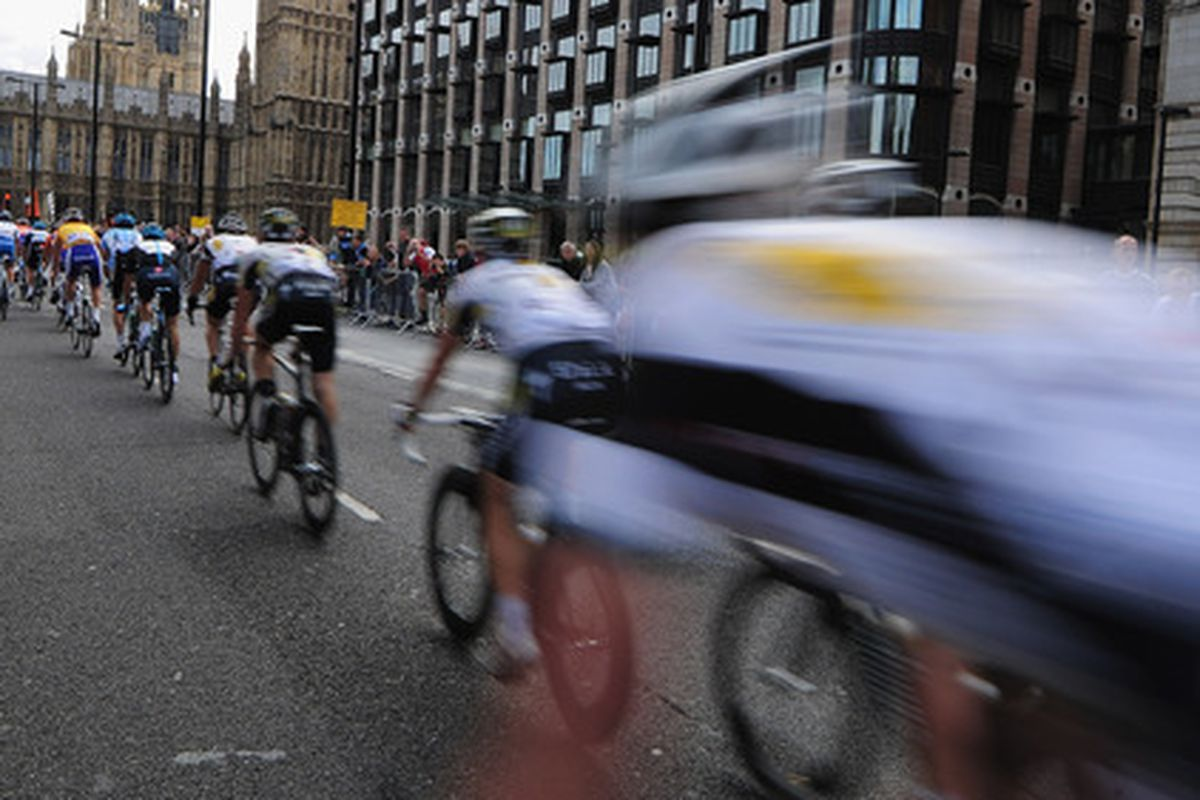 LONDON, ENGLAND - SEPTEMBER 18:  The Pelaton passes Big Ben during Stage Eight of the Tour of Britain at Whitehall, London on September 18, 2011 in London, England.  (Photo by Jamie McDonald/Getty Images)