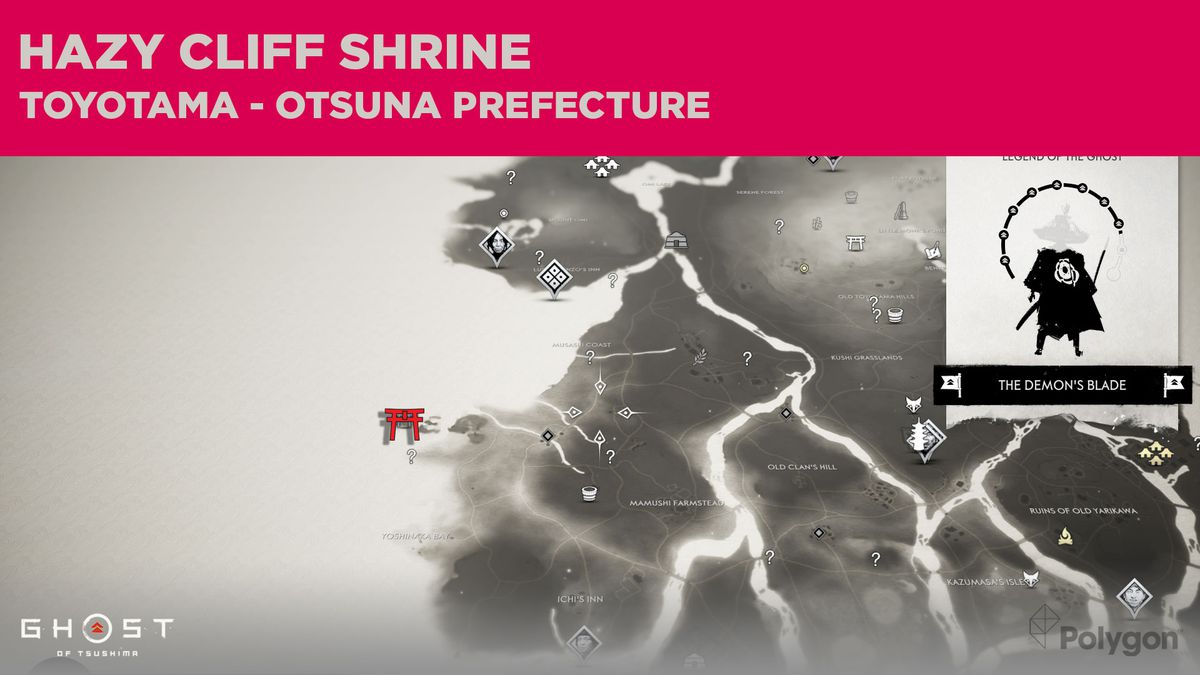 The location of Hazy Cliff Shrine in Ghost of Tsushima
