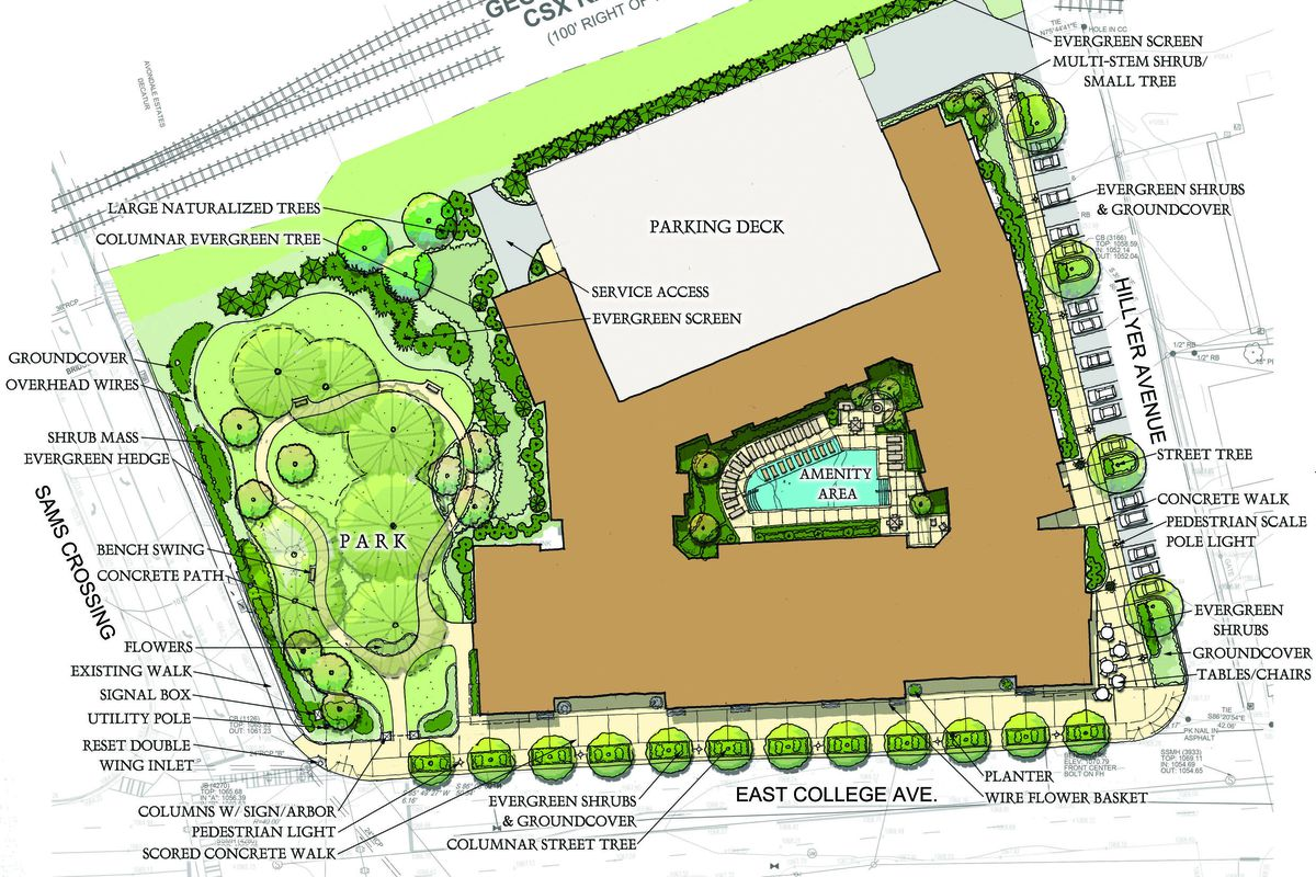 A draft site plan for the 197-unit project in Avondale Estates.