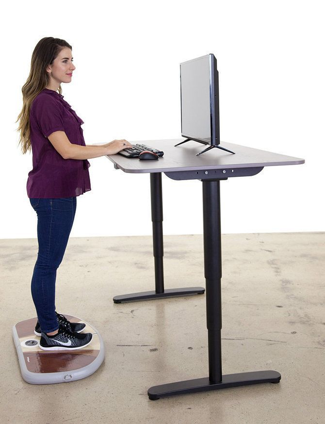 ... one assumes) is an inflatable pad that moves under your feet like a  surfboard while you standing at your (separately purchased) standing desk.