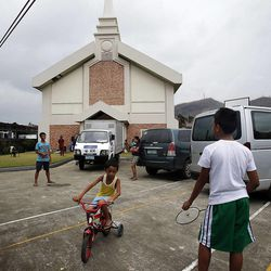 Children who are living at the San Juanico chapel of The Church of Jesus Christ of Latter-day Saints in Tacloban due to the typhoon play on Friday, Nov. 22, 2013.