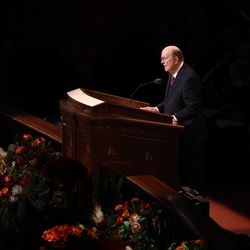 Elder Quentin L. Cook, a member of the Quorum of the Twelve Apostles of The Church of Jesus Christ of Latter-day Saints, speaks during the Sunday morning session of the 191st Semiannual General Conference in the Conference Center in Salt Lake City on Sunday, Oct. 3, 2021.