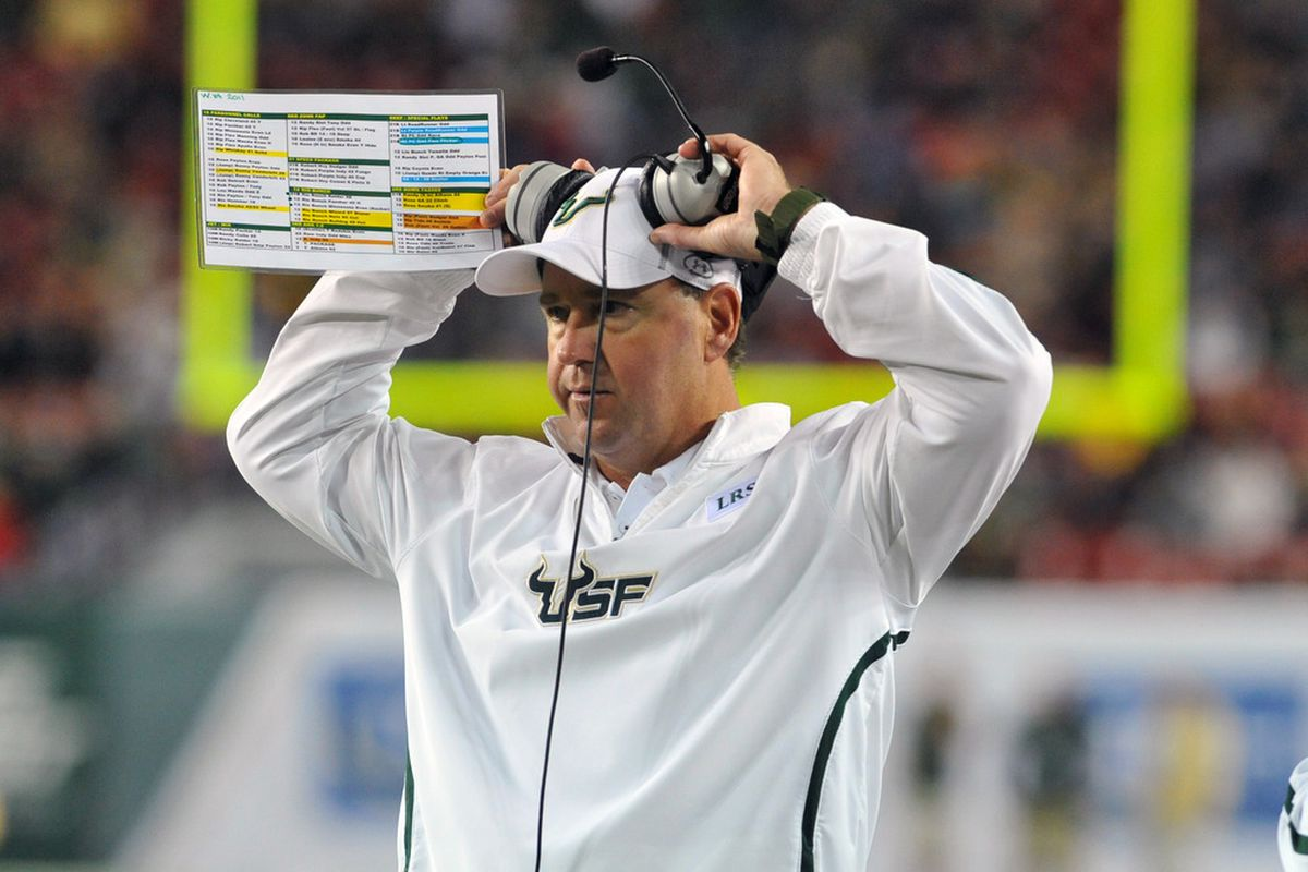 TAMPA, FL - DECEMBER 1:  Coach Skip Holtz of the South Florida Bulls directs play against the West Virginia Mountaineers December 1, 2011 at Raymond James Stadium in Tampa, Florida.  (Photo by Al Messerschmidt/Getty Images)