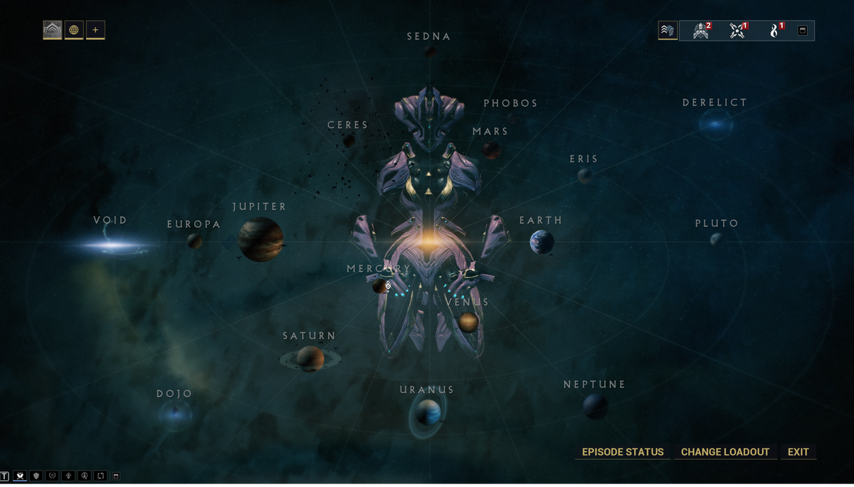 Warframe - A player examines the galaxy map