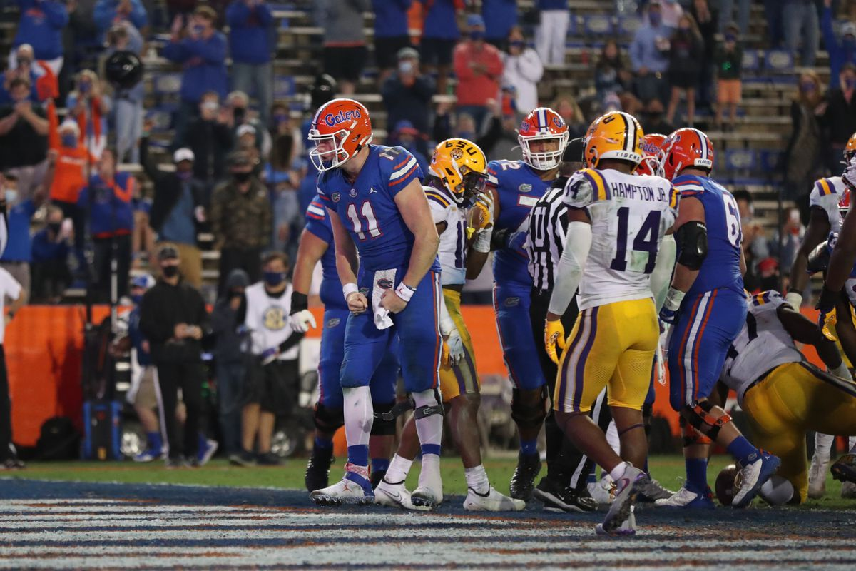 Kyle Trask of the Florida Gators reacts after a play against the LSU Tigers at Ben Hill Griffin Stadium on December 12, 2020 in Gainesville, Florida.