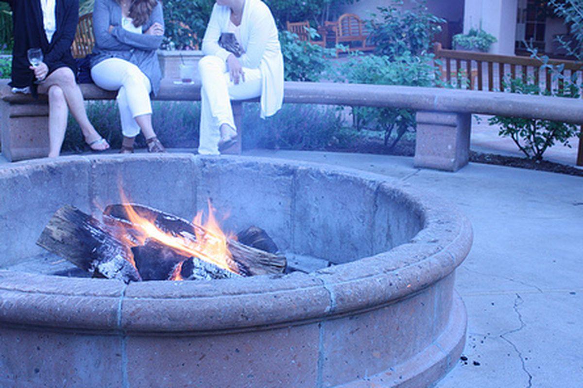 Fire pit before dinner at Santé.