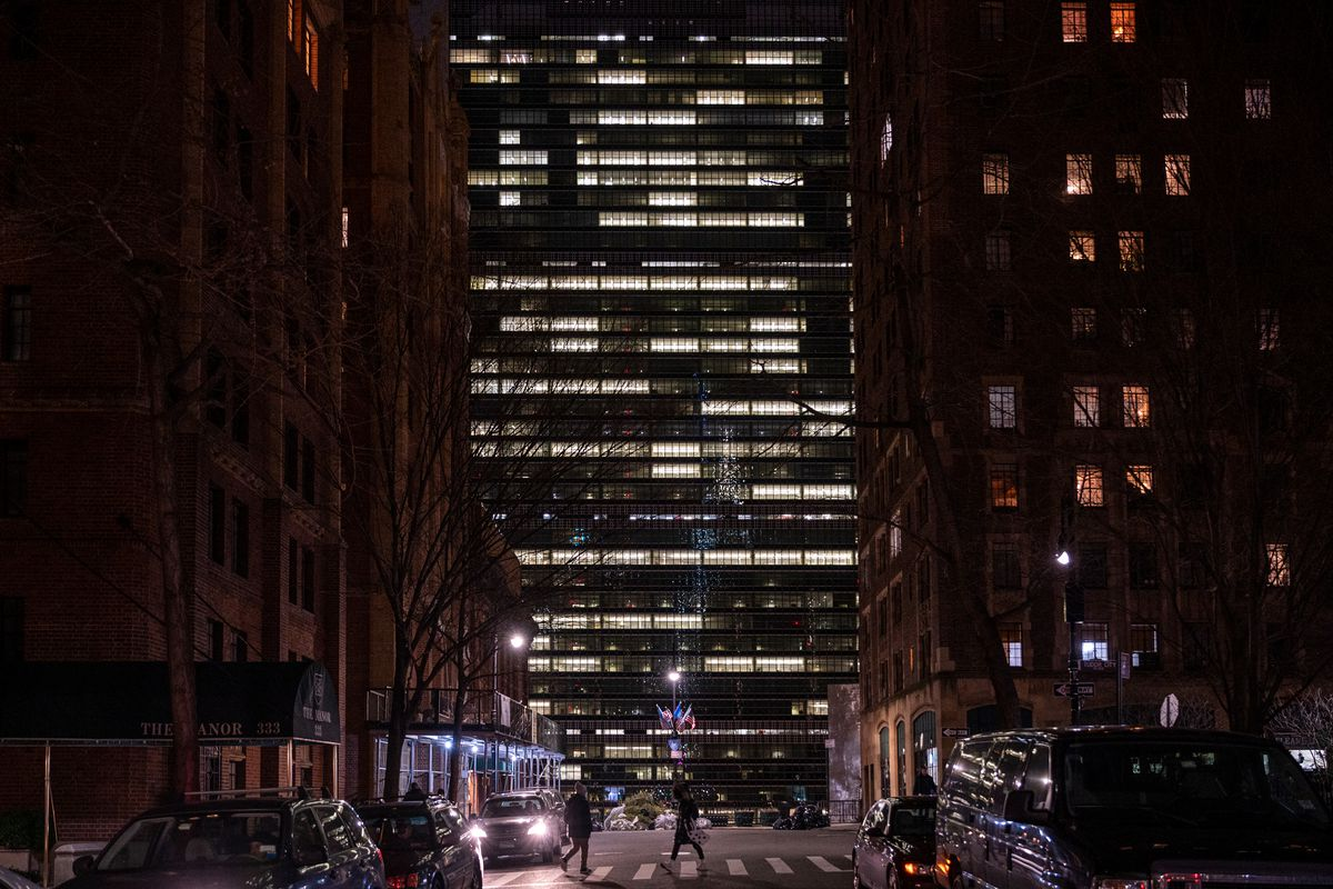 The United Nations Building looms over east 43rd Street in Manhattan, Jan. 8, 2020.