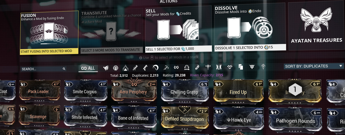 Image: A mod screen of the Fusion process in Warframe
