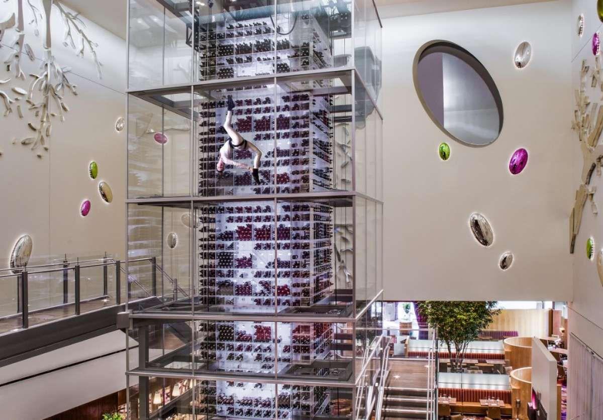 Wine tower inside Aureole