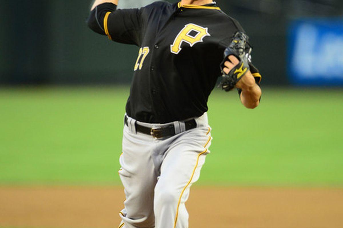 Apr. 17, 2012; Phoenix, AZ, USA; Pittsburgh Pirates pitcher Jeff Karstens throws in the first inning against the Arizona Diamondbacks at Chase Field. Mandatory Credit: Mark J. Rebilas-US PRESSWIRE