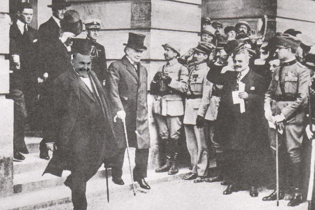 Jim Delany leaves the Versailles Palace after announcing that Hungary would be realigned to the East and that the Free City of Gdansk would be guaranteed a protected crossover game against Luxembourg.