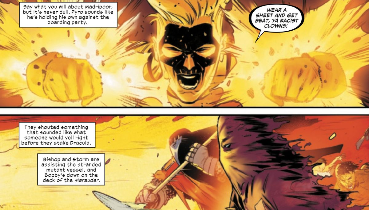 """Wear a sheet and get beat, ya racist clowns!"" Pyro yells at two human-supremacists in Marauders #6, Marvel Comics (2020)."