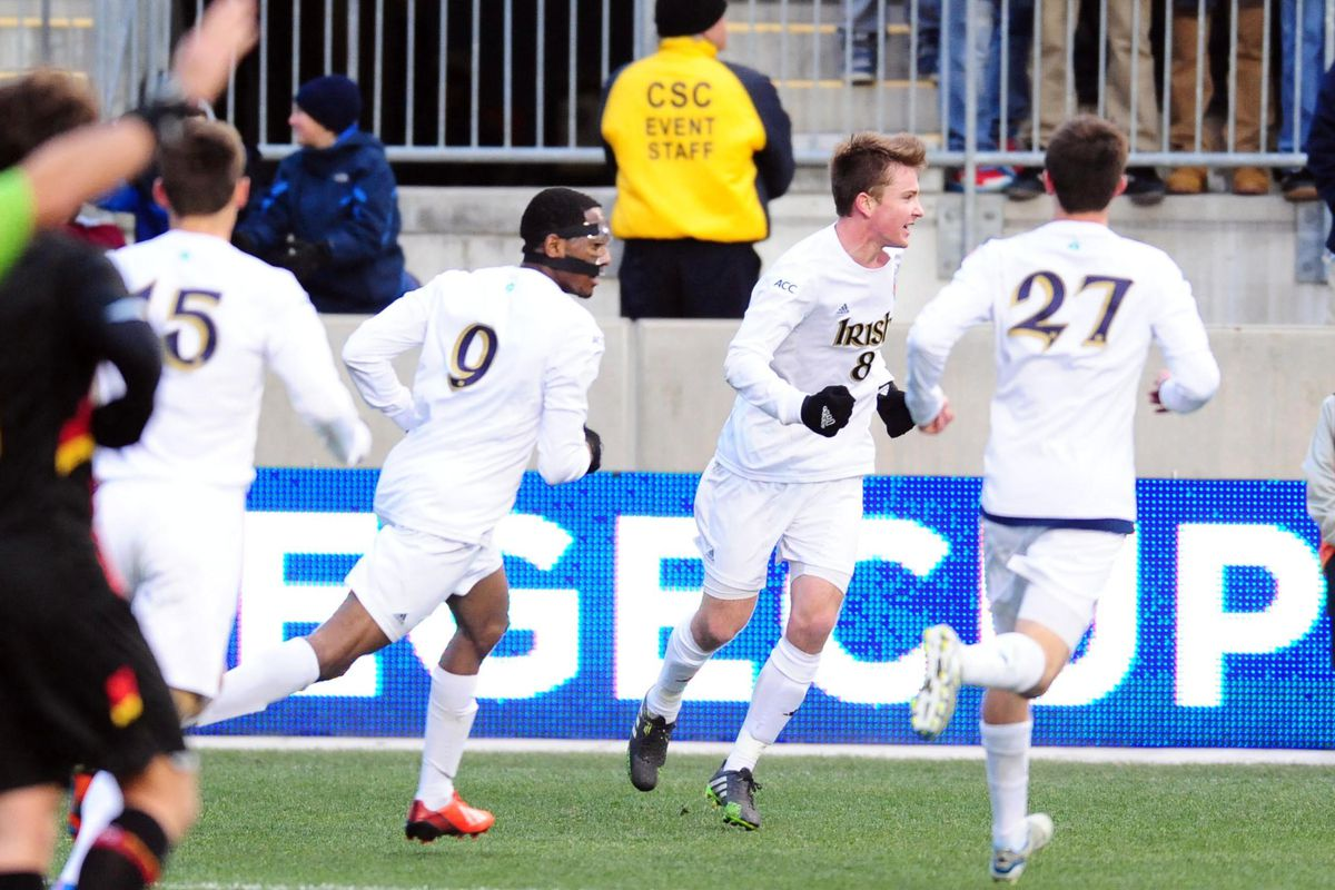 Leon Brown (9), pictured in last year's championship game, scored in #2 ND's 2-0 win over #8 UNC.