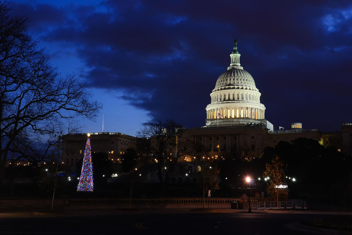 A Christmas tree stands in front of the capitol building in Washington, D.C.