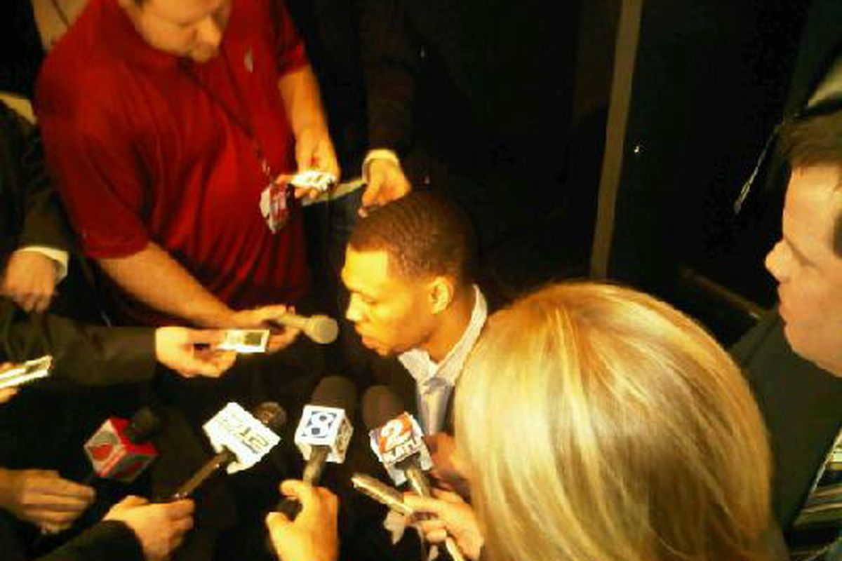 Brandon Roy addressed the Portland media at the Rose Garden prior to Monday night's game against Oklahoma City.