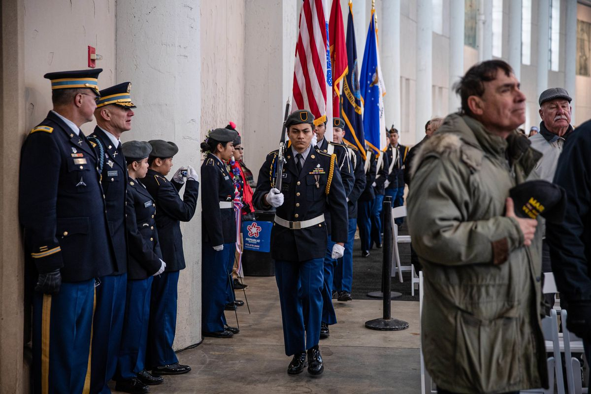 The presentation of the colors by Chicago Public Schools JROTC during the Veteran's Day ceremony at Soldier Field Monday.