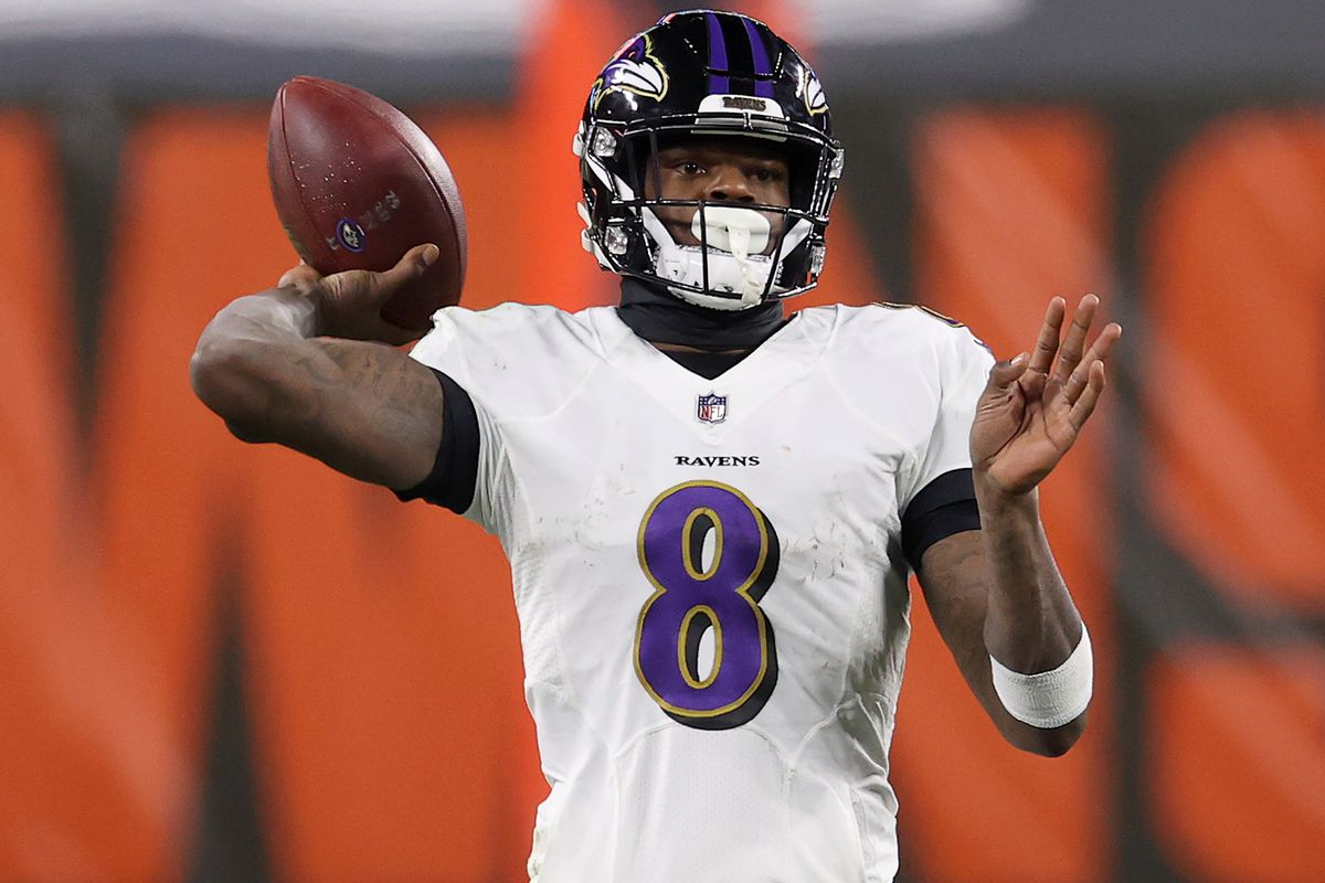 Lamar Jackson #8 of the Baltimore Ravens attempts a pass during the fourth quarter in the game against the Cleveland Browns at FirstEnergy Stadium on December 14, 2020 in Cleveland, Ohio.