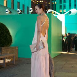 """Chriselle of <a href=""""http://thechrisellefactor.com/"""">The Chriselle Factor</a> is wearing a Joy Cioci dress, <a href=""""http://www.gucci.com/us/styles/296254JAW101089"""">Gucci</a> shoes, a <a href=""""http://shop.nordstrom.com/s/valentino-rockstud-leather-flap-"""