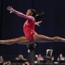 Simone Biles competes in the floor exercise during the women's U.S. Olympic Gymnastics Trials Sunday, June 27, 2021, in St. Louis.
