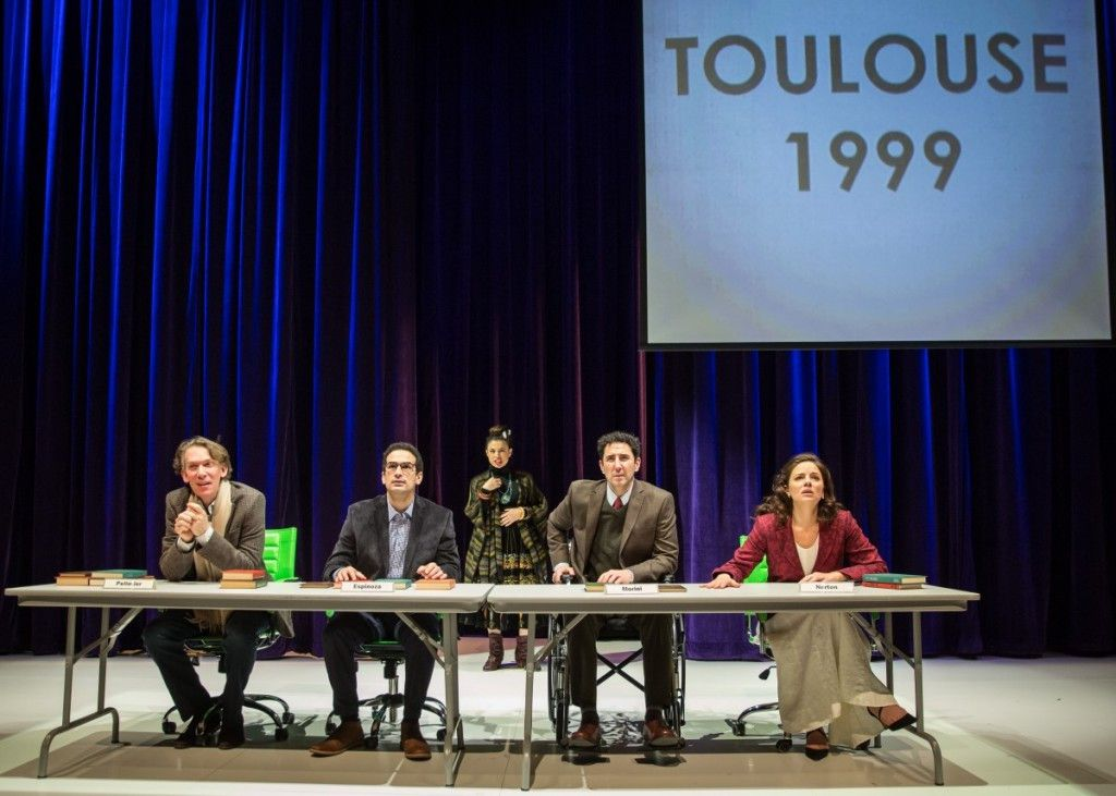 "Lawrence Grimm (from left), Demetrios Troy, Sandra Delgado, Sean Fortunato and Nicole Wiesner in the Goodman Theatre world premiere of ""2666."" (Photo: Liz Lauren)"