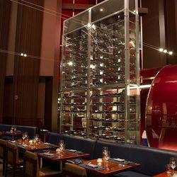 One of three wine towers near the bar at Gordon Ramsay Steak.
