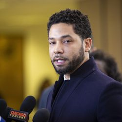 Jussie Smollett speaks to reporters after all charges against him were dropped.   Ashlee Rezin/Sun-Times