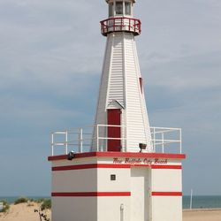 """""""When everyone's heading home to freshen up for dinner, it's your turn to stroll down to the <a href=""""http://www.newbuffalo.com/newbuffalo-beach-parks.shtml"""">New Buffalo Public Beach</a>. It has the cutest red and white lighthouse that may or may not beco"""