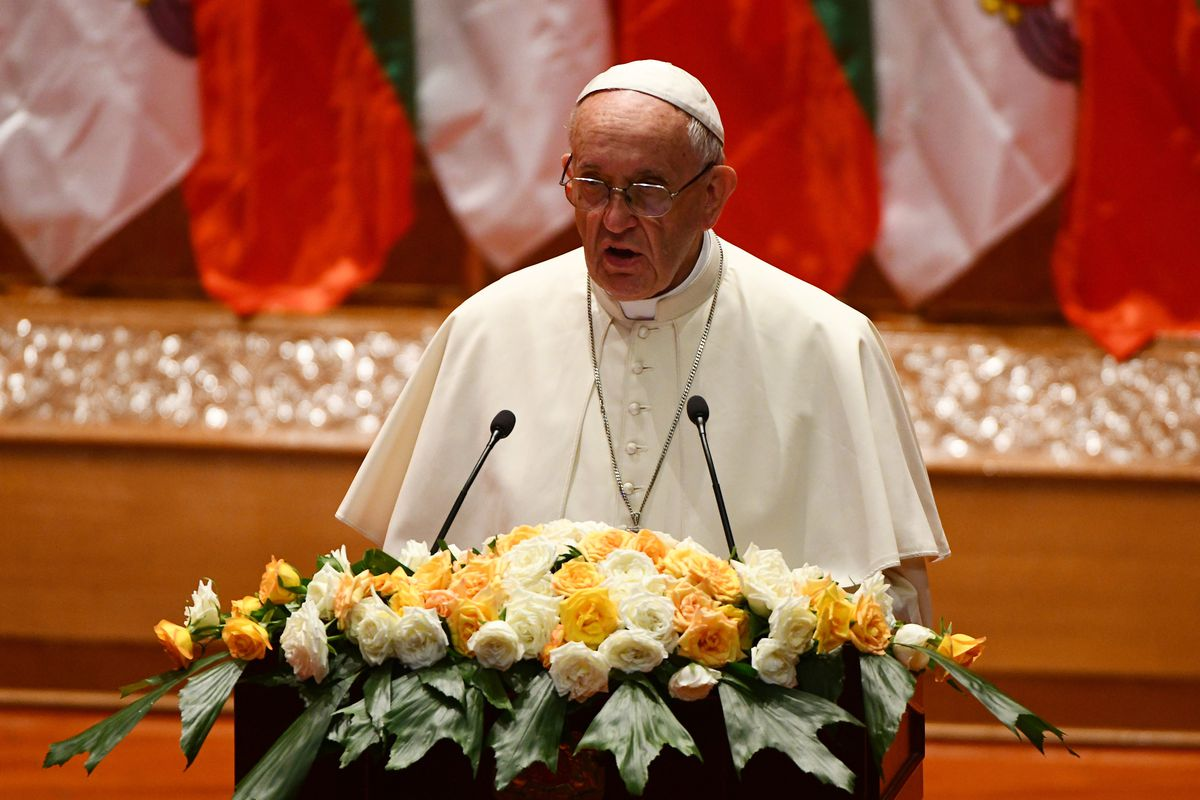 Pope Francis makes a speech during an event in Naypyidaw on November 28, 2017.