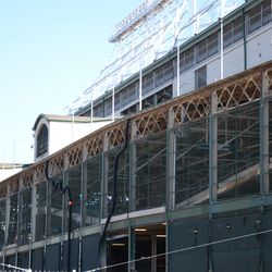 10:34 a.m. A closer look at the exposed framework, along the top of the west side of the ballpark -