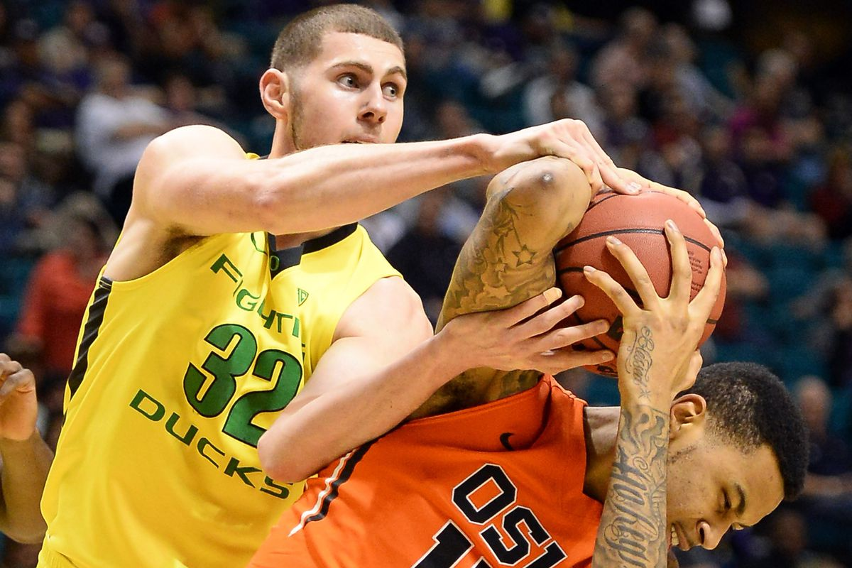 Oregon quelled Oregon St. in their Pac-12 Tournament first round game as effectively as Ben Carter did Eric Moreland above, in the first ever Civil War battle fought outside the borders of the state of Oregon.