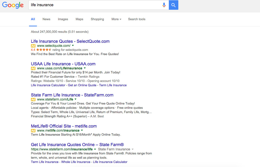 New search results, without right side ads.