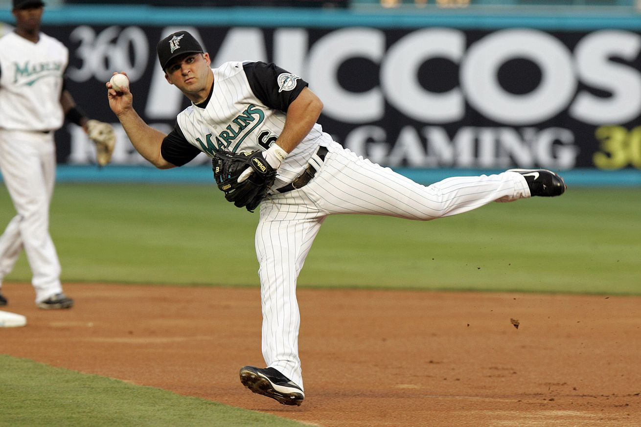 Florida Marlins Dan Uggla throws out Cleveland Indians Victo