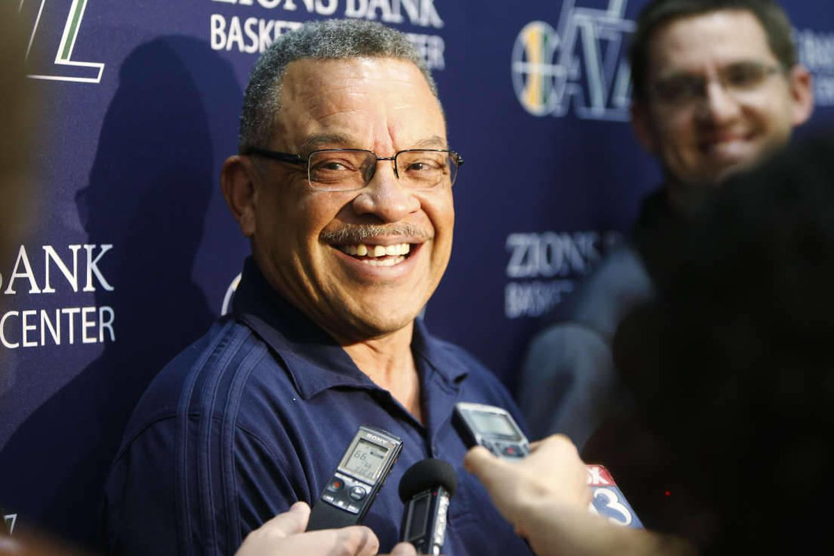 Walt Perrin, Utah Jazz VP of basketball operations, speaks to the media after player work outs at the Zions Bank Basketball Center in Salt Lake City  Wednesday, May 7, 2014.