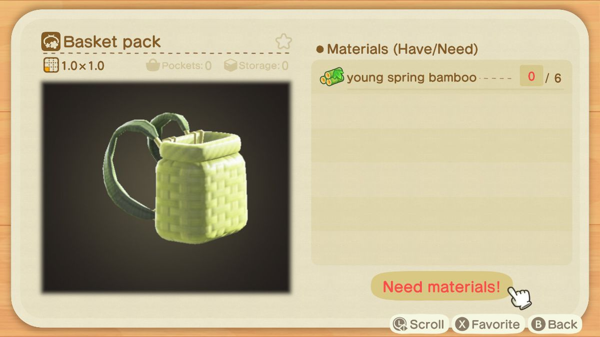 An Animal Crossing crafting screen for a Basket Pack