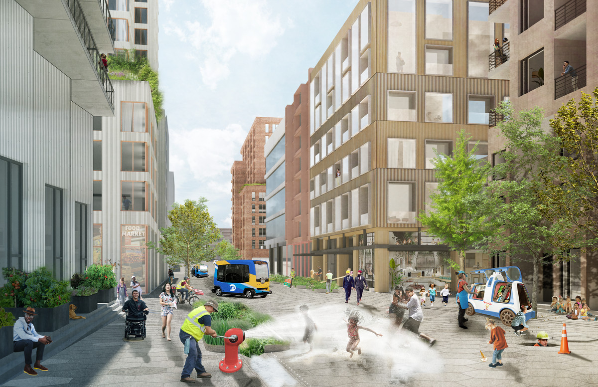 An interior streetscape shows mid-rise buildings, pedestrians, and people on scooters.