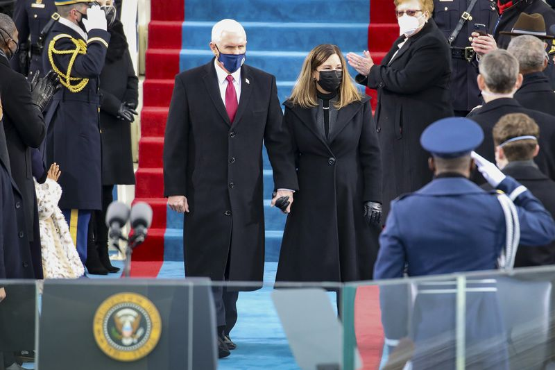 Outgoing Vice President Mike Pence and his wife, Karen Pence, at the swearing-in ceremony.