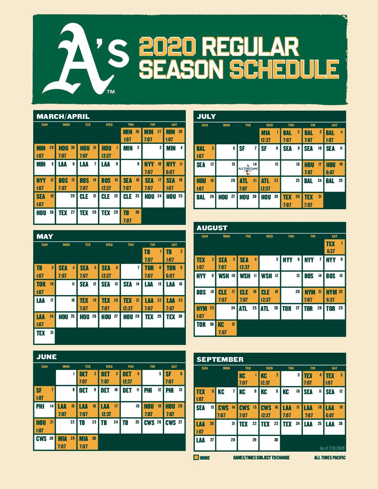 Sf Giants Home Schedule 2020.Oakland A S 2020 Schedule 6 Things To Know Athletics Nation
