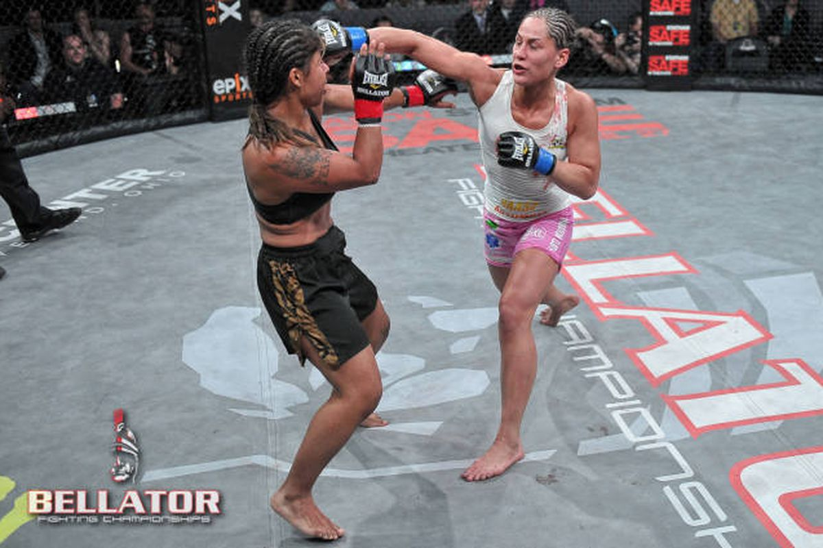 Jessica Eye (right) rose to the top of the women's flyweight rankings under the Bellator banner