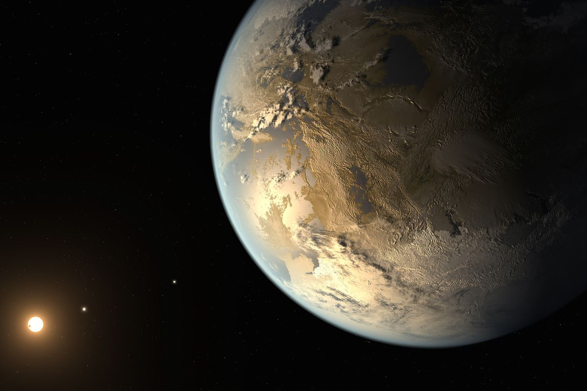 An artist's depiction of Kepler-186f, the first earth-sized planet ever found in a habitable zone
