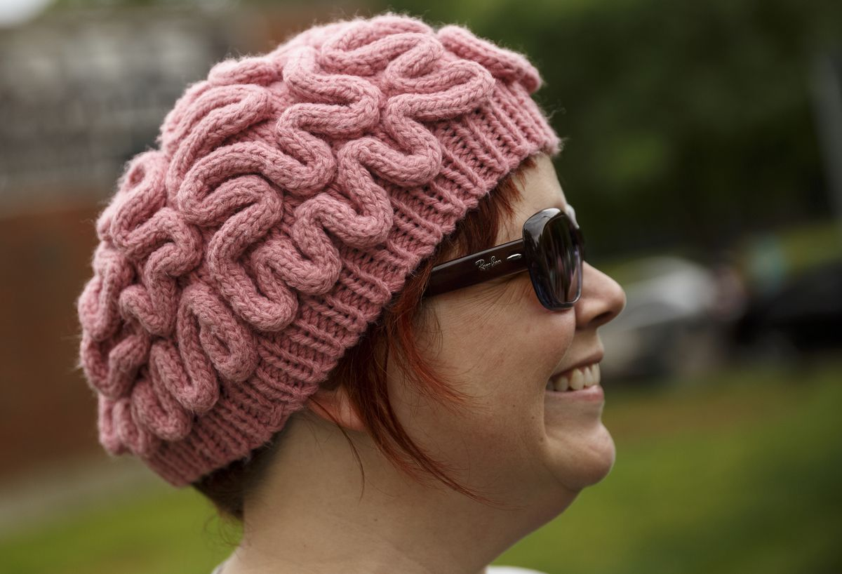 Anne Herdman Royal wears a brain hat during the March for Science on Saturday in Chattanooga, Tenn.   Doug Strickland/Chattanooga Times Free Press, distributed by the Associated Press