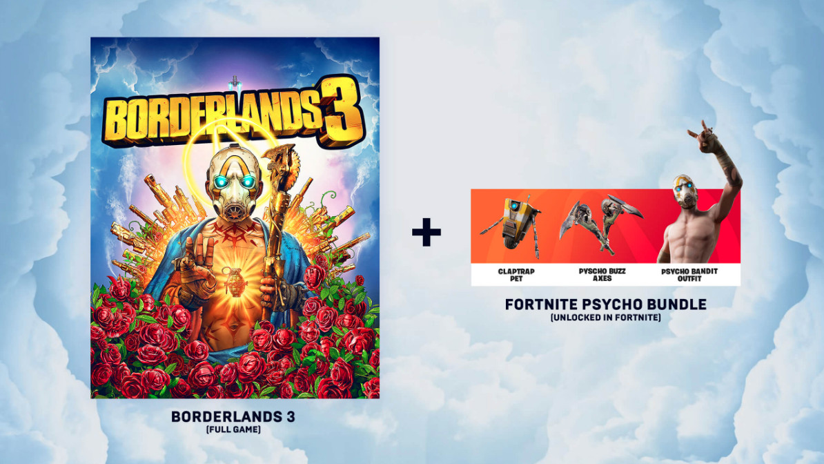 Borderlands 3 cover art and components of the Fortnite Psycho bundle on a cloud background