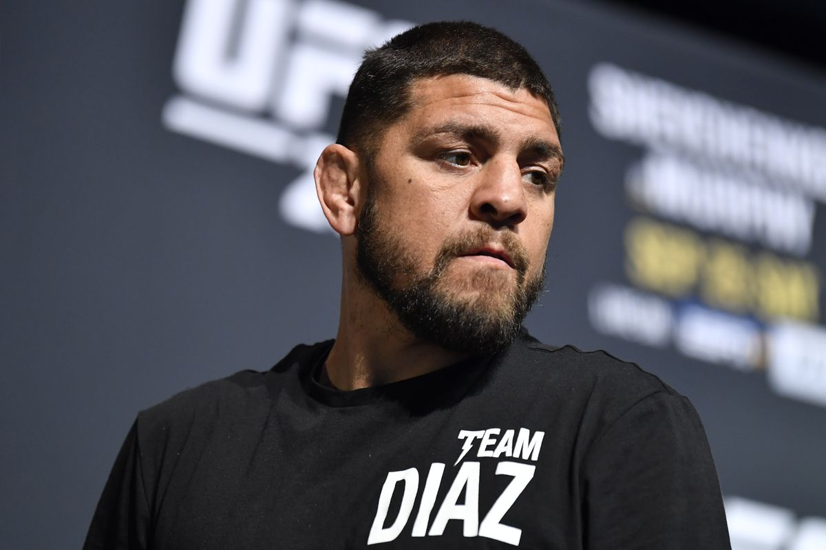 Nick Diaz stands on stage during the UFC 266 Press Conference at Park Theater at Park MGM on September 23, 2021 in Las Vegas, Nevada