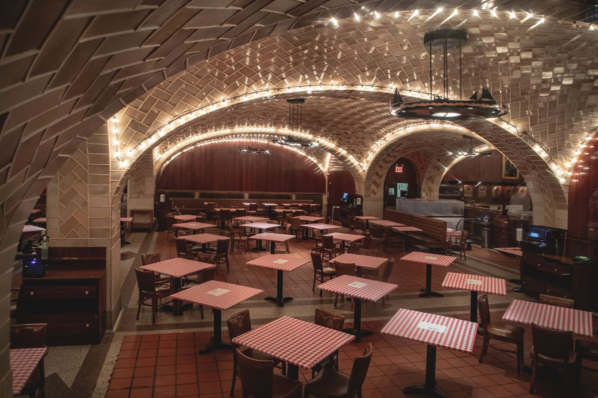 Grand Central Oyster bar interior with tables haphazardly arranged