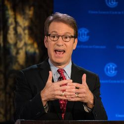 Rep. Peter Roskam participates in a debate with his Democratic challenger, Sean Casten, at Union League Club of Chicago on July 26, 2018. | Max Herman/For the Sun-Times