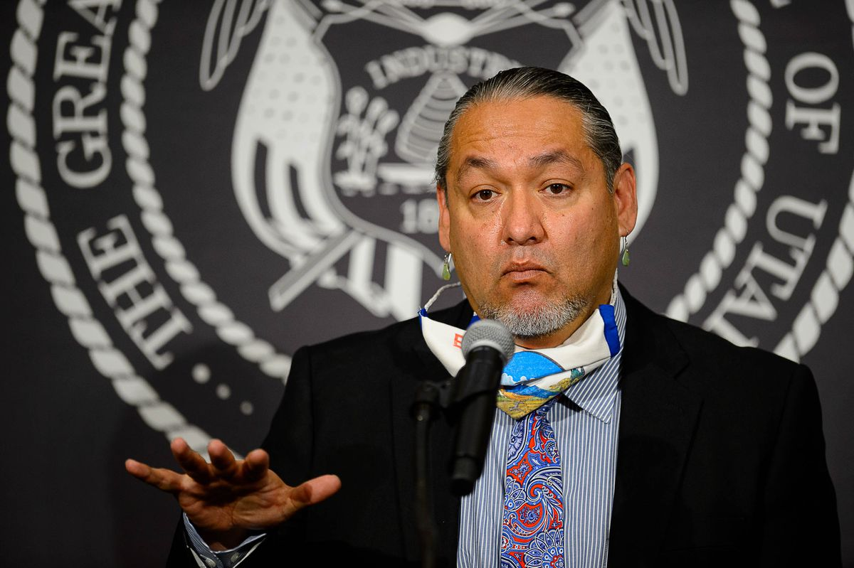 Dustin Jansen, director for the Utah Division of Indian Affairs, speaks at the daily COVID-19 briefing at the Capitol in Salt Lake City on Thursday, May 28, 2020.