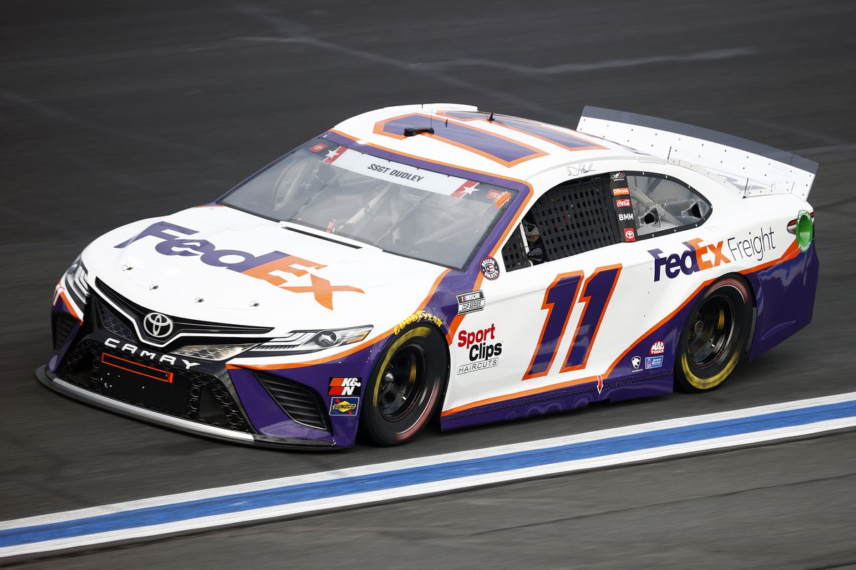 Denny Hamlin, driver of the #11 FedEx Freight Toyota, drives during practice for the NASCAR Cup Series Coca-Cola 600 at Charlotte Motor Speedway on May 28, 2021 in Concord, North Carolina.